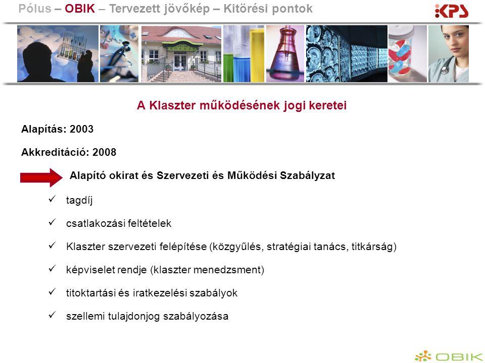 A Klaszter működésének jogi keretei Alapítás: 2003 Akkreditáció: 2008 Alapító okirat és Szervezeti és Működési Szabályzat tagdíj csatlakozási feltétel