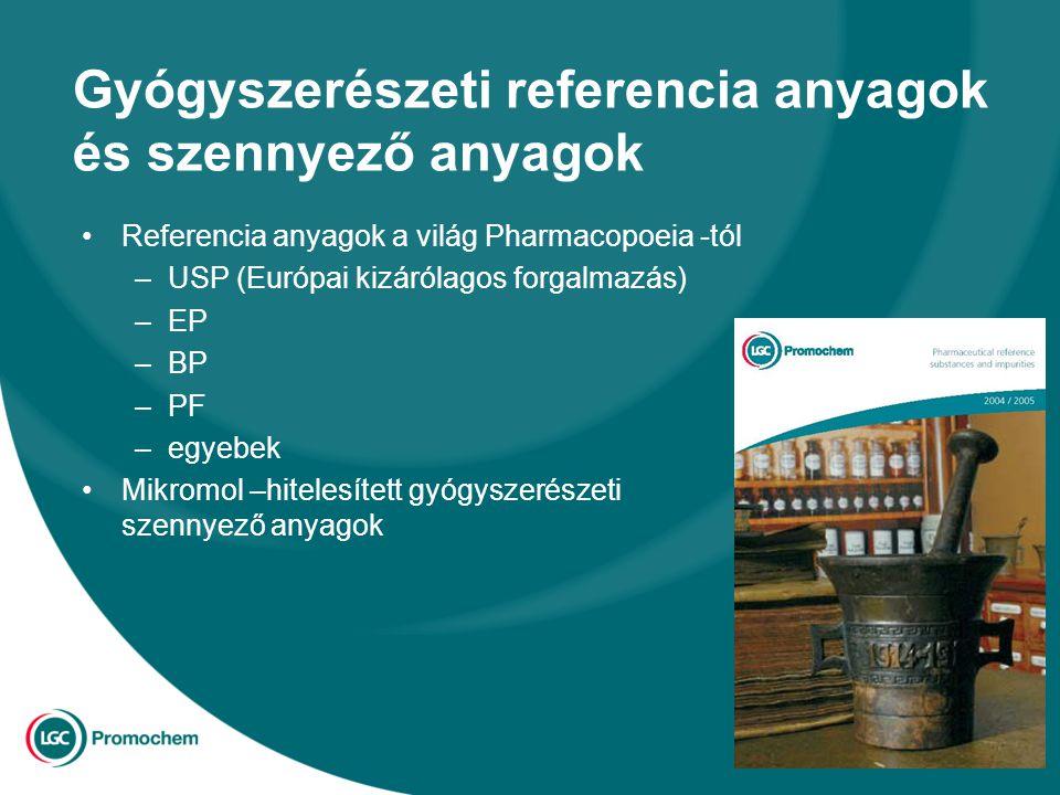 Gyógyszerészeti referencia anyagok és szennyező anyagok Referencia anyagok a világ Pharmacopoeia -tól –USP (Európai kizárólagos forgalmazás) –EP –BP –PF –egyebek Mikromol –hitelesített gyógyszerészeti szennyező anyagok