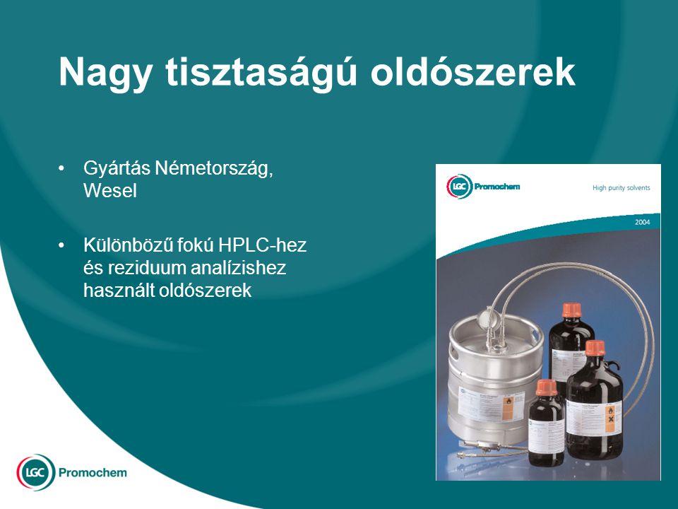 Nagy tisztaságú oldószerek Gyártás Németország, Wesel Különbözű fokú HPLC-hez és reziduum analízishez használt oldószerek