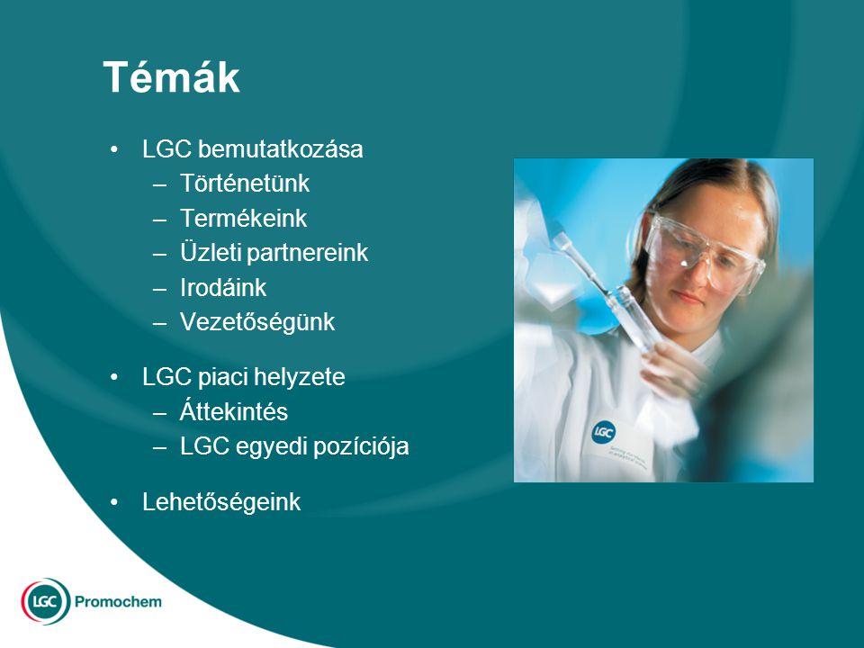 Témák LGC bemutatkozása –Történetünk –Termékeink –Üzleti partnereink –Irodáink –Vezetőségünk LGC piaci helyzete –Áttekintés –LGC egyedi pozíciója Lehetőségeink