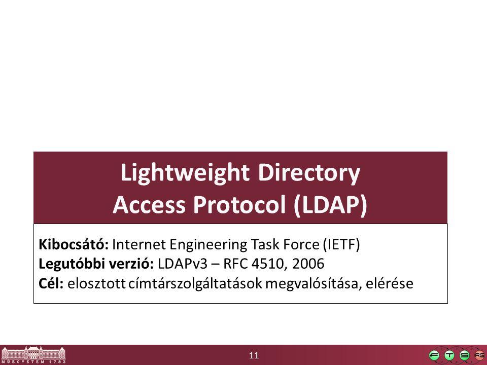 11 Lightweight Directory Access Protocol (LDAP) Kibocsátó: Internet Engineering Task Force (IETF) Legutóbbi verzió: LDAPv3 – RFC 4510, 2006 Cél: elosz
