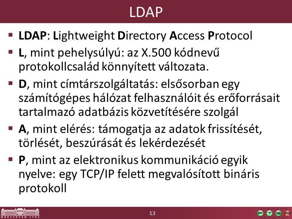 13 LDAP  LDAP: Lightweight Directory Access Protocol  L, mint pehelysúlyú: az X.500 kódnevű protokollcsalád könnyített változata.  D, mint címtársz