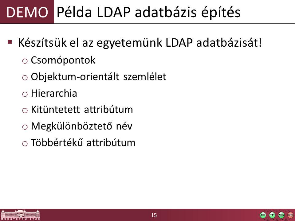 15 DEMO  Készítsük el az egyetemünk LDAP adatbázisát! o Csomópontok o Objektum-orientált szemlélet o Hierarchia o Kitüntetett attribútum o Megkülönbö