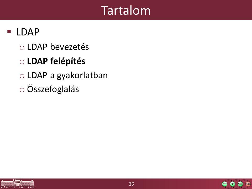 26 Tartalom  LDAP o LDAP bevezetés o LDAP felépítés o LDAP a gyakorlatban o Összefoglalás