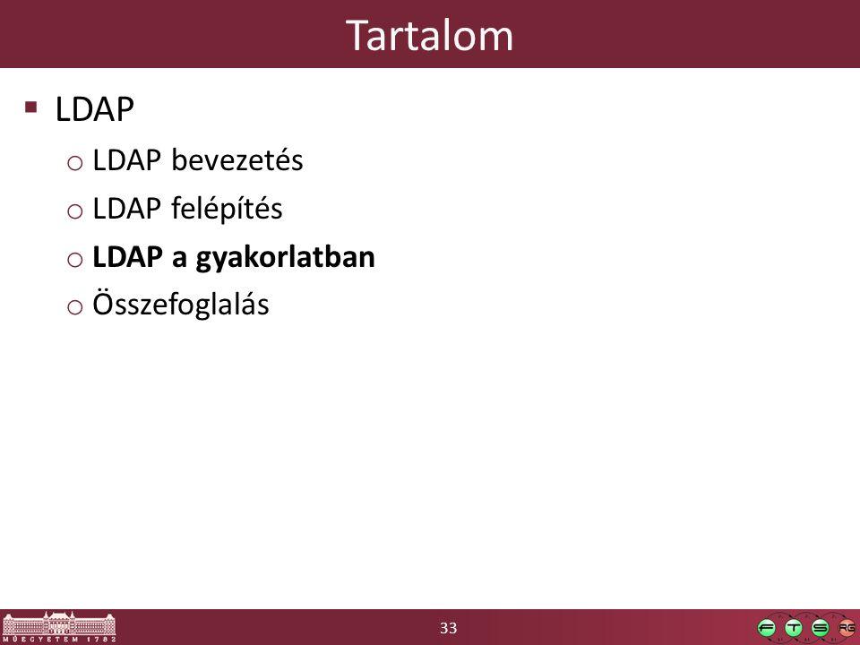 33 Tartalom  LDAP o LDAP bevezetés o LDAP felépítés o LDAP a gyakorlatban o Összefoglalás