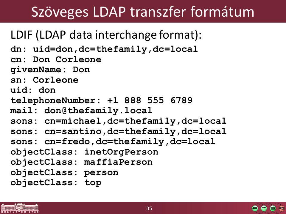 35 Szöveges LDAP transzfer formátum LDIF (LDAP data interchange format): dn: uid=don,dc=thefamily,dc=local cn: Don Corleone givenName: Don sn: Corleone uid: don telephoneNumber: +1 888 555 6789 mail: don@thefamily.local sons: cn=michael,dc=thefamily,dc=local sons: cn=santino,dc=thefamily,dc=local sons: cn=fredo,dc=thefamily,dc=local objectClass: inetOrgPerson objectClass: maffiaPerson objectClass: person objectClass: top