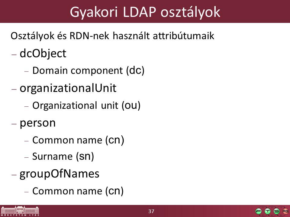 37 Gyakori LDAP osztályok Osztályok és RDN-nek használt attribútumaik  dcObject  Domain component ( dc )  organizationalUnit  Organizational unit