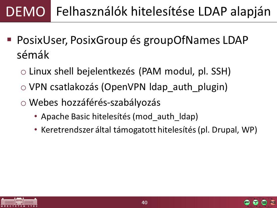 40 DEMO  PosixUser, PosixGroup és groupOfNames LDAP sémák o Linux shell bejelentkezés (PAM modul, pl. SSH) o VPN csatlakozás (OpenVPN ldap_auth_plugi