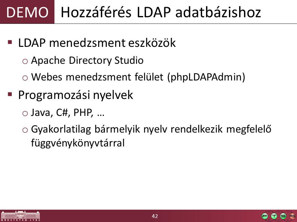 42 DEMO  LDAP menedzsment eszközök o Apache Directory Studio o Webes menedzsment felület (phpLDAPAdmin)  Programozási nyelvek o Java, C#, PHP, … o G