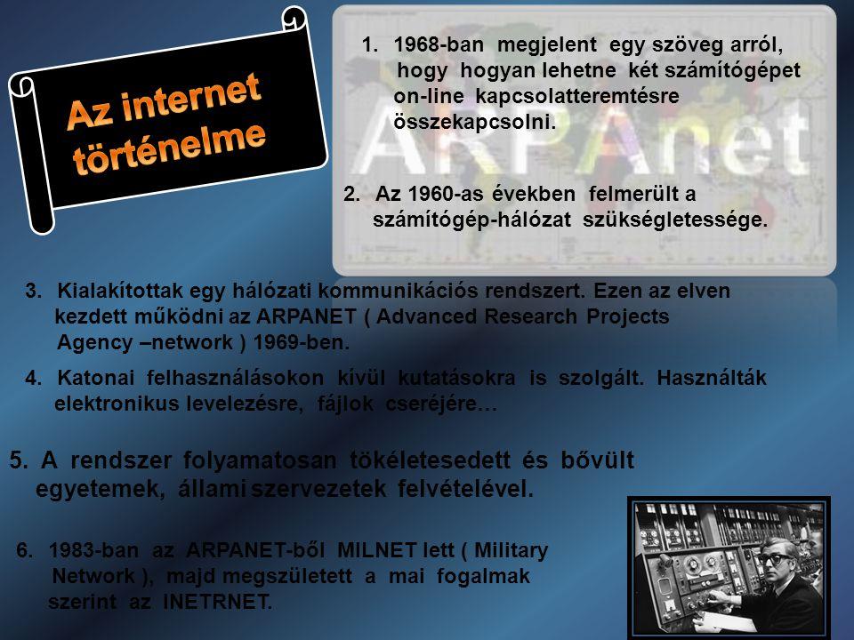 1.1968-ban megjelent egy szöveg arról, hogy hogyan lehetne két számítógépet on-line kapcsolatteremtésre összekapcsolni.