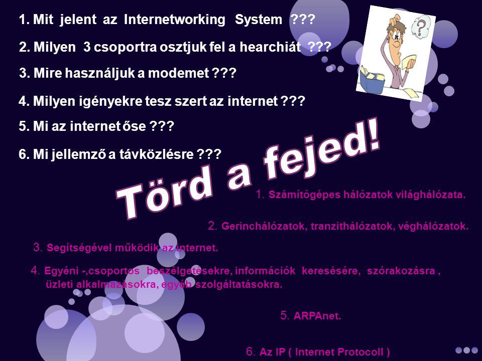 1. Mit jelent az Internetworking System . 1. Számítógépes hálózatok világhálózata.