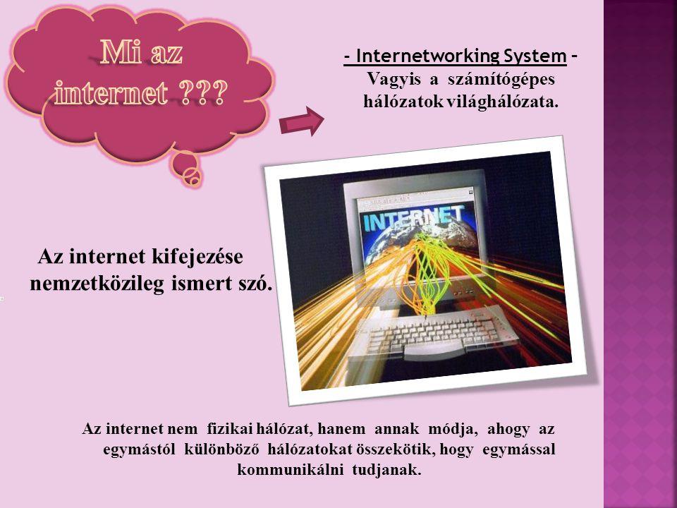- Internetworking System – Vagyis a számítógépes hálózatok világhálózata.