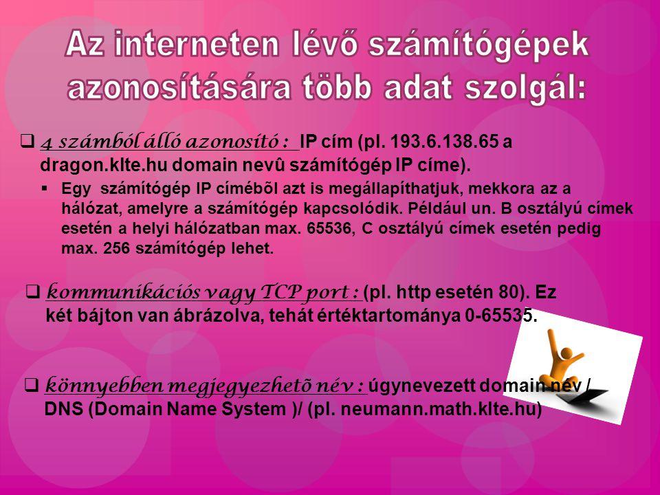  4 számból álló azonosító : IP cím (pl.
