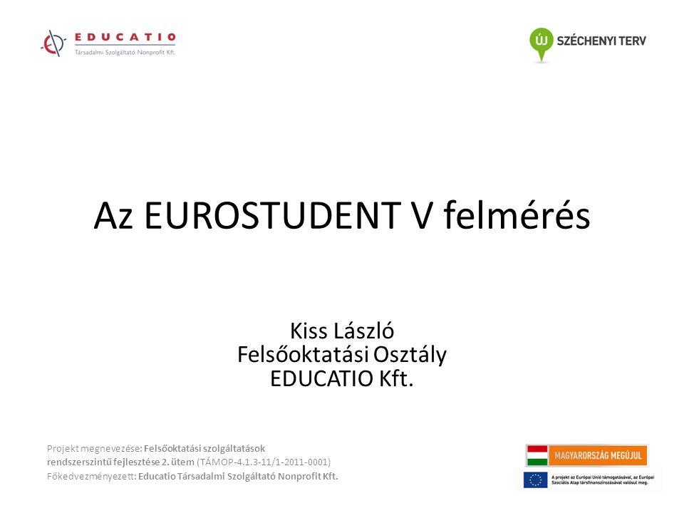 Az EUROSTUDENT V Jelenleg 25 résztvevő ország (további tárgyalások egykori szovjet és jugoszláv tagállamokkal) Magyarország első ízben csatlakozott a felméréshez Projekt megnevezése: Felsőoktatási szolgáltatások rendszerszintű fejlesztése 2.