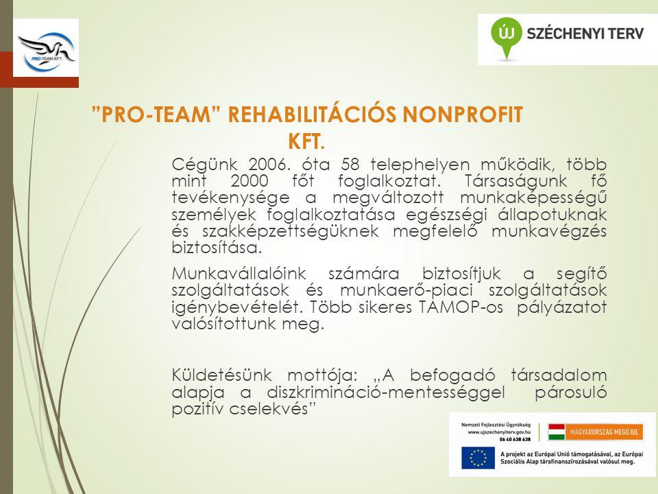 PRO-TEAM REHABILITÁCIÓS NONPROFIT KFT. Cégünk 2006.