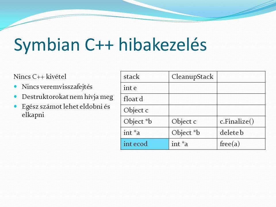 Symbian C++ hibakezelés Nincs C++ kivétel Nincs veremvisszafejtés Destruktorokat nem hívja meg Egész számot lehet eldobni és elkapni stackCleanupStack int e float d Object c Object *bObject cc.Finalize() int *aObject *bdelete b int ecodint *afree(a)