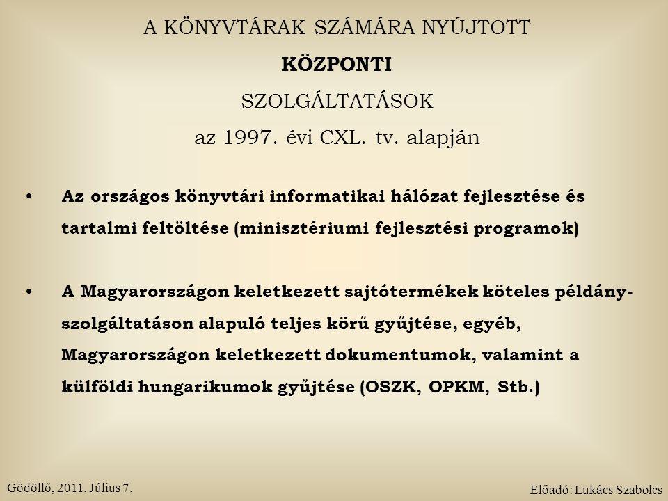 A KÖNYVTÁRAK SZÁMÁRA NYÚJTOTT KÖZPONTI SZOLGÁLTATÁSOK Az országos dokumentum ellátási rendszer működtetése A határon túli magyarok könyvtári ellátásának segítése (minisztériumi fejlesztési program) A hazai, nemzeti és etnikai kisebbségek könyvtári ellátásának segítése (OIK) A nemzetközi szabványos dokumentumazonosító számok kiadása és nyilvántartása (ISBN, ISSN) Gödöllő, 2011.