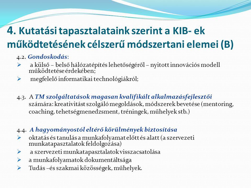 4. Kutatási tapasztalataink szerint a KIB- ek működtetésének célszerű módszertani elemei (B) 4.2. Gondoskodás:  a külső – belső hálózatépítés lehetős