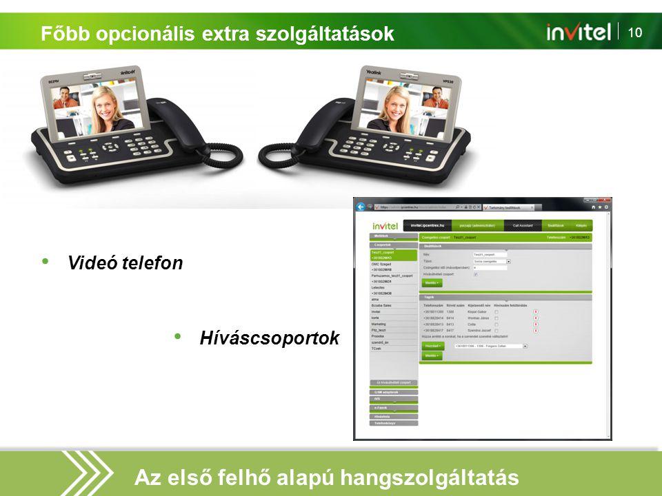 10 Főbb opcionális extra szolgáltatások Videó telefon Híváscsoportok Az első felhő alapú hangszolgáltatás