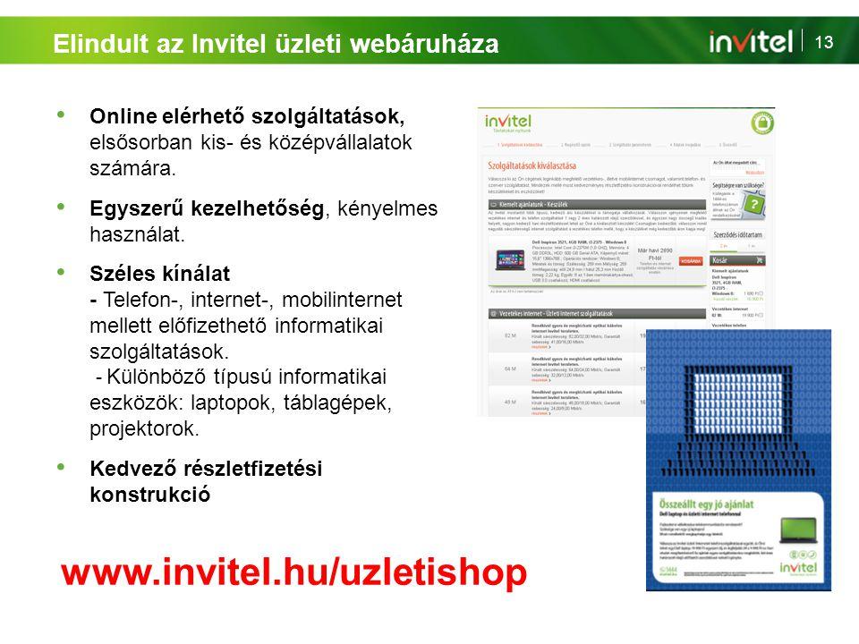 13 Elindult az Invitel üzleti webáruháza Online elérhető szolgáltatások, elsősorban kis- és középvállalatok számára. Egyszerű kezelhetőség, kényelmes