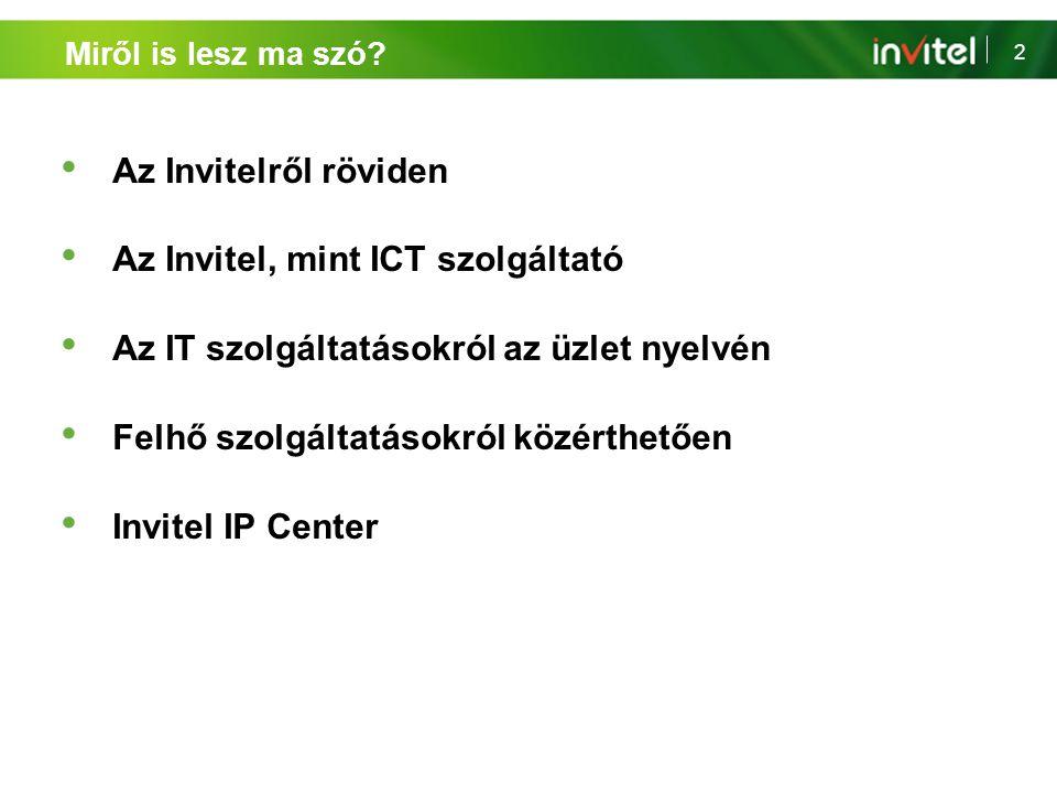 2 Miről is lesz ma szó? Az Invitelről röviden Az Invitel, mint ICT szolgáltató Az IT szolgáltatásokról az üzlet nyelvén Felhő szolgáltatásokról közért
