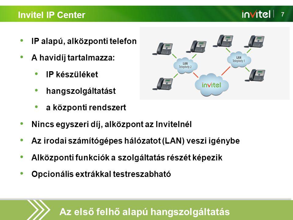 7 Invitel IP Center IP alapú, alközponti telefon A havidíj tartalmazza: IP készüléket hangszolgáltatást a központi rendszert Nincs egyszeri díj, alköz