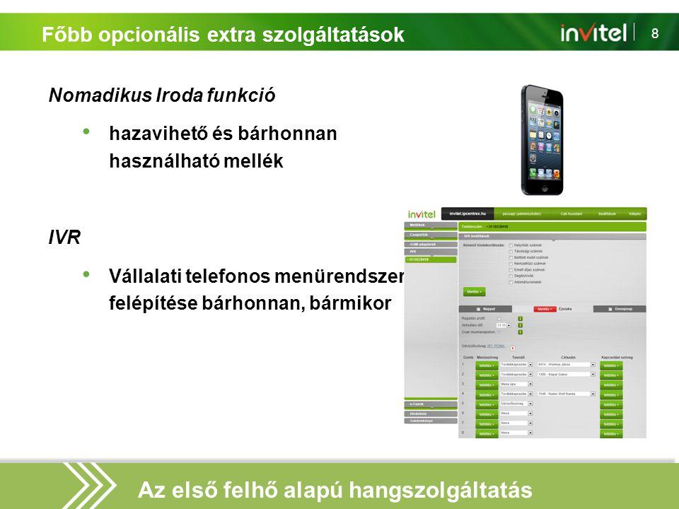 8 Főbb opcionális extra szolgáltatások Nomadikus Iroda funkció hazavihető és bárhonnan használható mellék IVR Vállalati telefonos menürendszer felépít