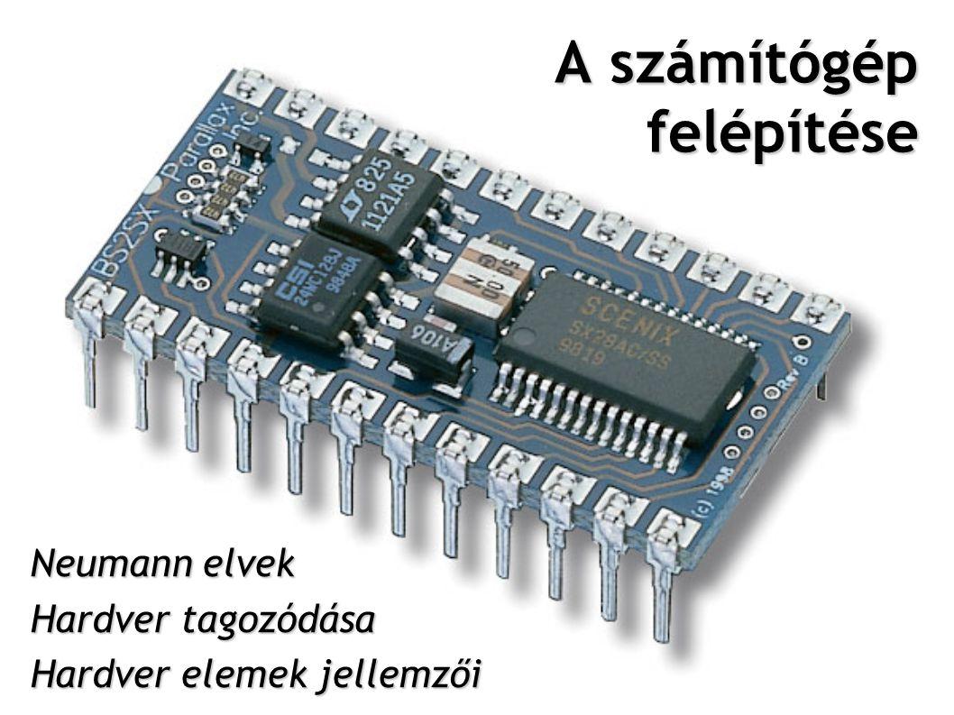 Neumann elvek soros utasítás utasítások végrehajtása időben egymás után történik kettes (bináris) számrendszer használata, teljesen elektronikus működés belső memória (operatív tár) használata a program és az adatok tárolására széles körű felhasználhatóság, alkalmasság bármilyen adatfeldolgozási feladatra központi vezérlőegység alkalmazása 2