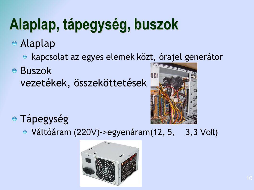 Alaplap, tápegység, buszok Alaplap kapcsolat az egyes elemek közt, órajel generátor Buszok vezetékek, összeköttetések Tápegység Váltóáram (220V) ->egy