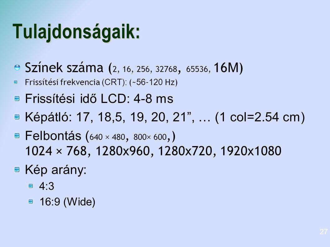Tulajdonságaik: Színek száma ( 2, 16, 256, 32768, 65536, 16 M ) Frissítési frekvencia (CRT): (~ 56 - 120 Hz)  Frissítési idő LCD: 4-8 ms Képátló: 17,