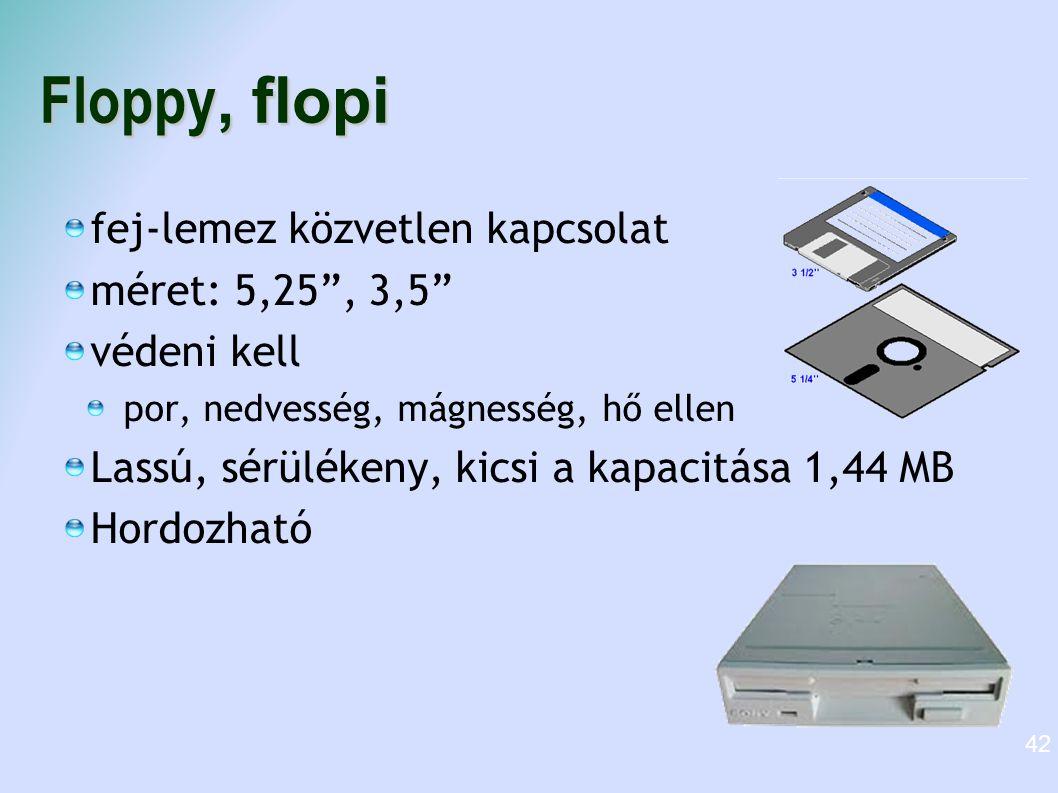 """Floppy, flopi fej-lemez közvetlen kapcsolat méret: 5,25"""", 3,5"""" védeni kell por, nedvesség, mágnesség, hő ellen Lassú, sérülékeny, kicsi a kapacitása 1"""