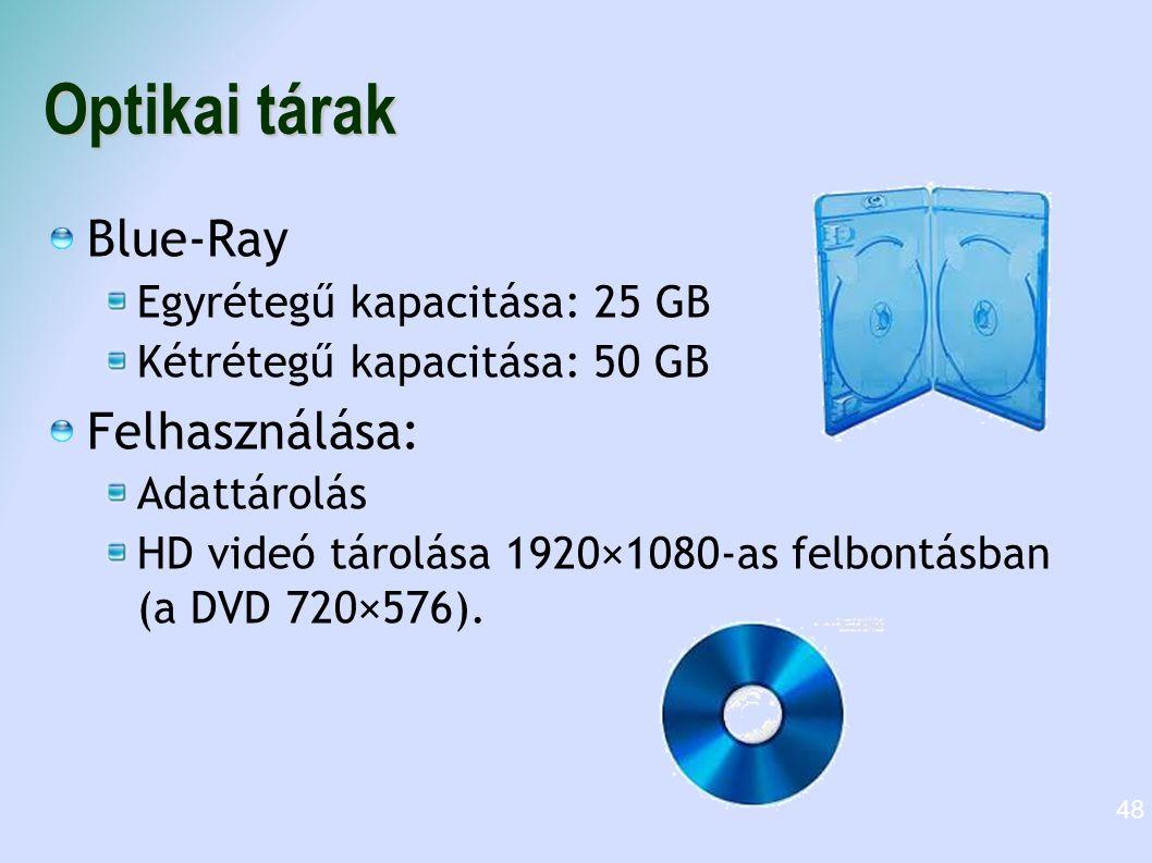 Optikai tárak Blue-Ray Egyrétegű kapacitása: 25 GB Kétrétegű kapacitása: 50 GB Felhasználása: Adattárolás HD videó tárolása 1920×1080-as felbontásban
