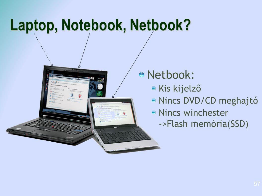 Laptop, Notebook, Netbook? Netbook: Kis kijelző Nincs DVD/CD meghajtó Nincs winchester ->Flash memória(SSD) 57