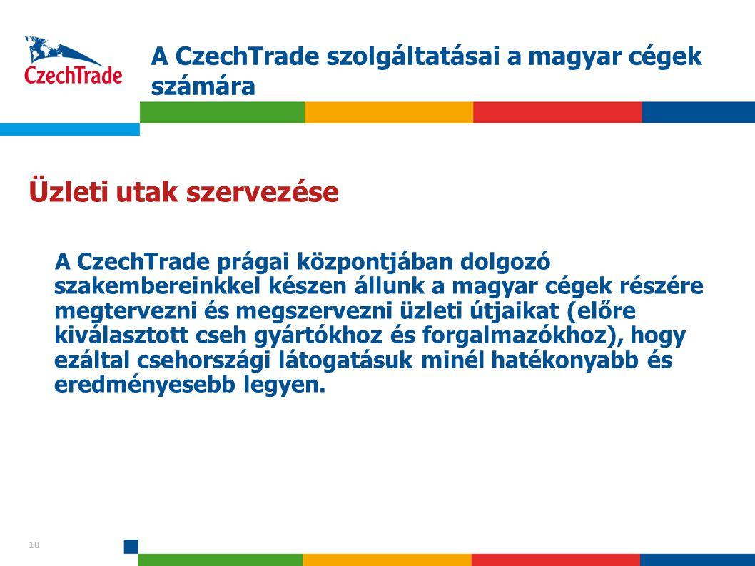 10 A CzechTrade szolgáltatásai a magyar cégek számára 10 Üzleti utak szervezése A CzechTrade prágai központjában dolgozó szakembereinkkel készen állun