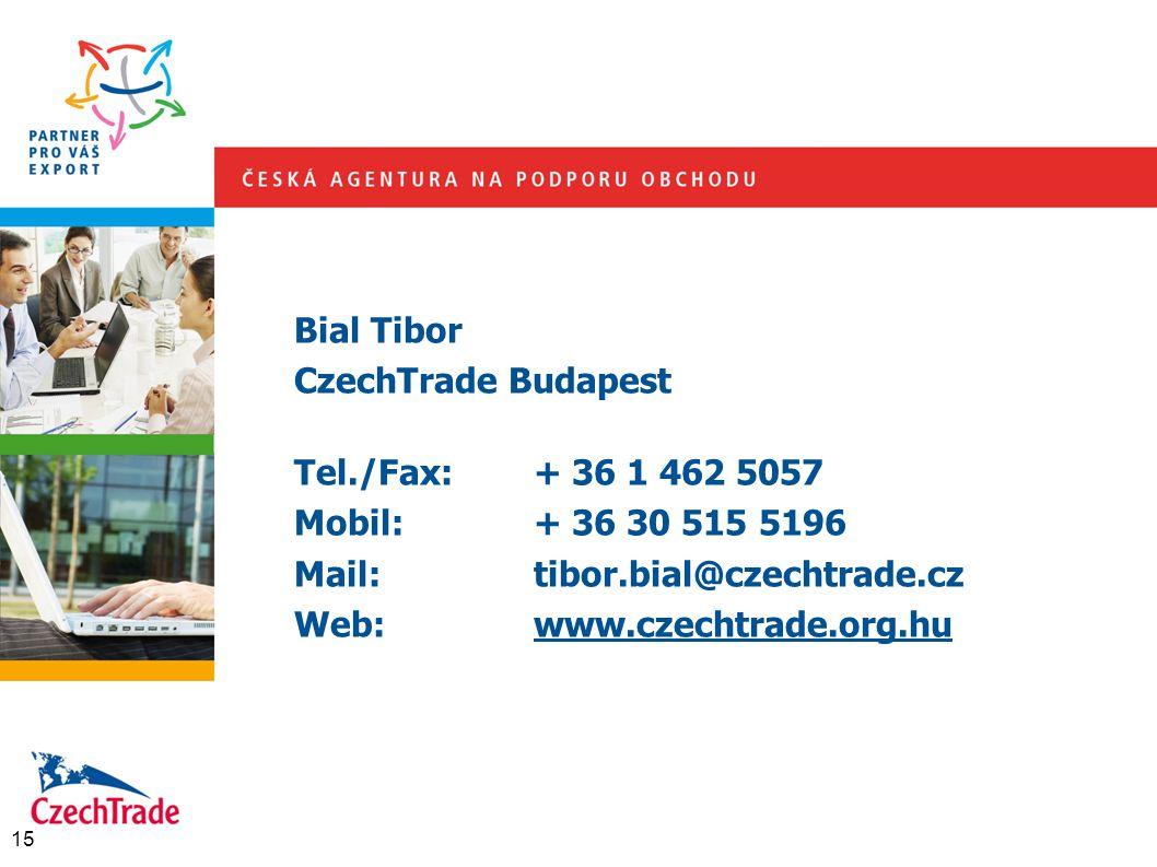 Bial Tibor CzechTrade Budapest Tel./Fax:+ 36 1 462 5057 Mobil:+ 36 30 515 5196 Mail:tibor.bial@czechtrade.cz Web:www.czechtrade.org.hu 15