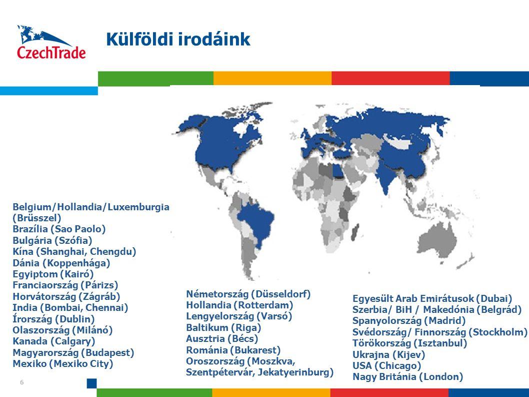6 Külföldi irodáink 6 Belgium/Hollandia/Luxemburgia (Brüsszel) Brazília (Sao Paolo) Bulgária (Szófia) Kína (Shanghai, Chengdu) Dánia (Koppenhága) Egyi