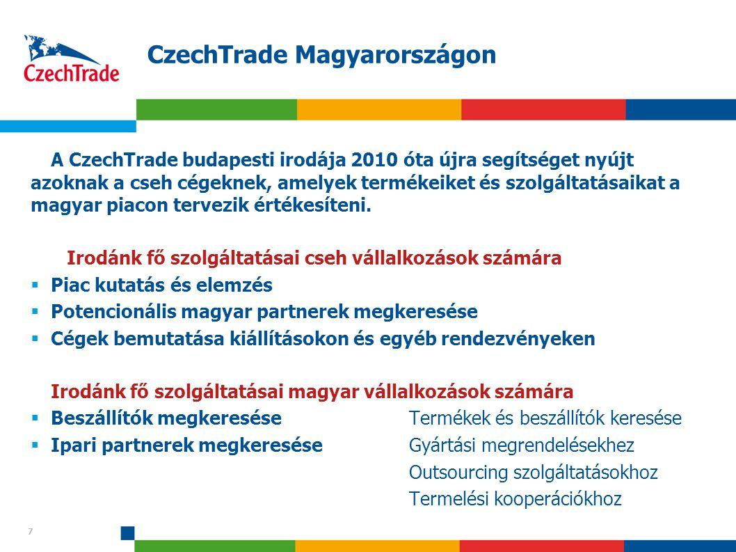 7 CzechTrade Magyarországon 7 A CzechTrade budapesti irodája 2010 óta újra segítséget nyújt azoknak a cseh cégeknek, amelyek termékeiket és szolgáltat