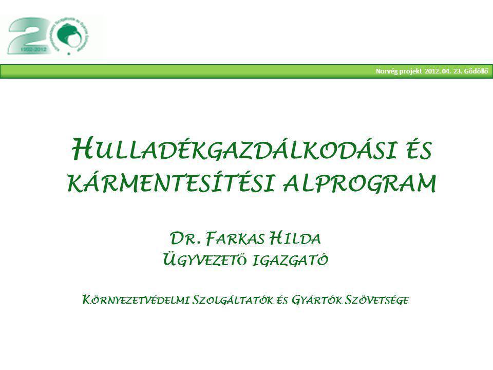 Norvég projekt 2012. 04. 23. Gödöllő H ULLADÉKGAZDÁLKODÁSI ÉS KÁRMENTESÍTÉSI ALPROGRAM D R.