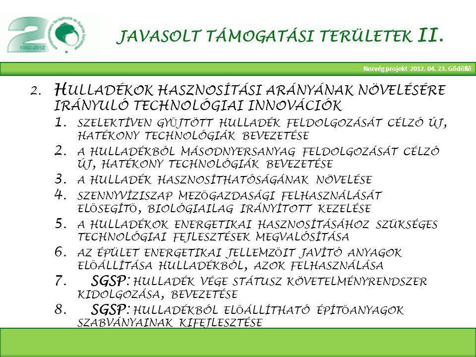 Norvég projekt 2012. 04. 23. Gödöllő JAVASOLT TÁMOGATÁSI TERÜLETEK II.