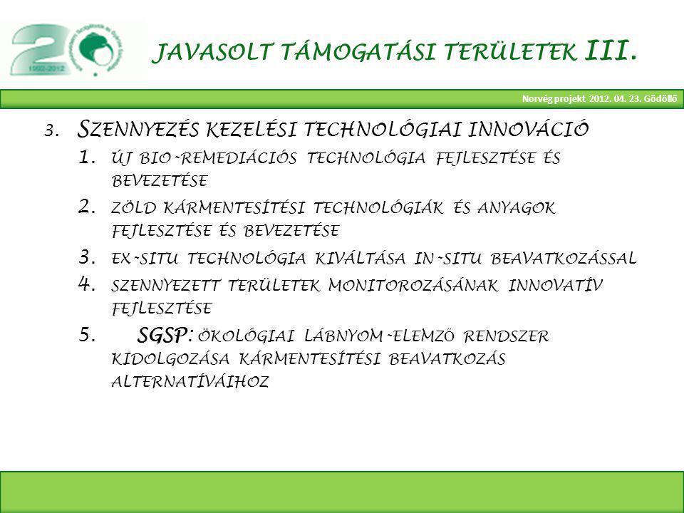 Norvég projekt 2012. 04. 23. Gödöllő JAVASOLT TÁMOGATÁSI TERÜLETEK III.