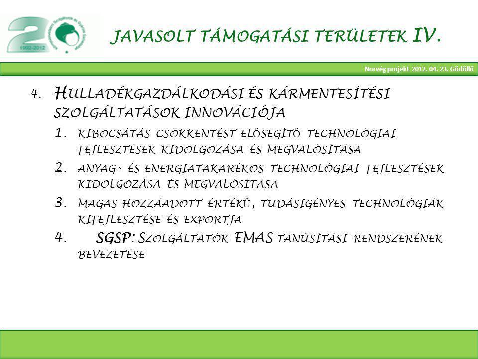 Norvég projekt 2012. 04. 23. Gödöllő JAVASOLT TÁMOGATÁSI TERÜLETEK IV.