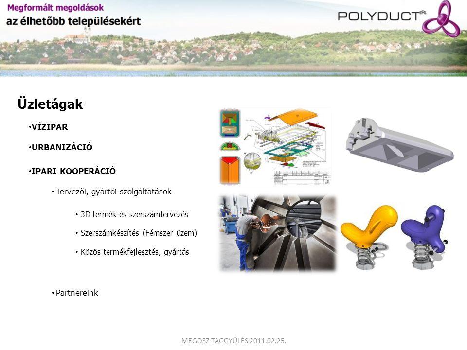 VÍZIPAR URBANIZÁCIÓ Üzletágak IPARI KOOPERÁCIÓ Tervezői, gyártói szolgáltatások Partnereink 3D termék és szerszámtervezés Szerszámkészítés (Fémszer üz