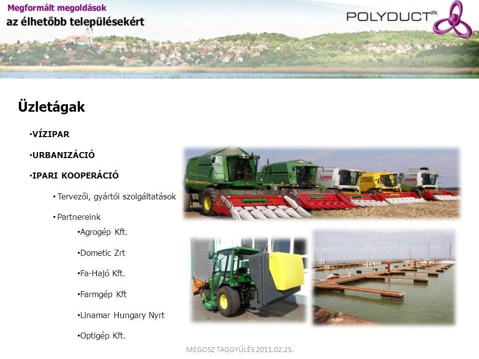 Üzletágak VÍZIPAR URBANIZÁCIÓ Agrogép Kft. Dometic Zrt Fa-Hajó Kft. Farmgép Kft Linamar Hungary Nyrt Optigép Kft. IPARI KOOPERÁCIÓ Tervezői, gyártói s