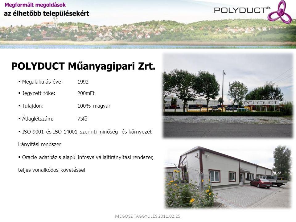 POLYDUCT Műanyagipari Zrt.  Megalakulás éve:1992  Jegyzett tőke: 200mFt  Tulajdon:100% magyar  Átlaglétszám:75fő  ISO 9001 és ISO 14001 szerinti