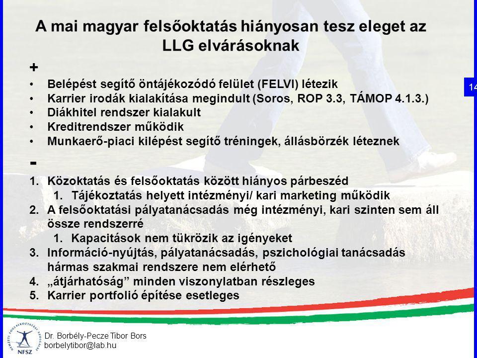 Dr. Borbély-Pecze Tibor Bors borbelytibor@lab.hu A mai magyar felsőoktatás hiányosan tesz eleget az LLG elvárásoknak 14 + Belépést segítő öntájékozódó