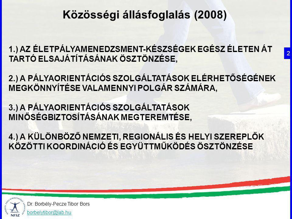 Dr. Borbély-Pecze Tibor Bors borbelytibor@lab.hu Közösségi állásfoglalás (2008) 2 1.) AZ ÉLETPÁLYAMENEDZSMENT-KÉSZSÉGEK EGÉSZ ÉLETEN ÁT TARTÓ ELSAJÁTÍ