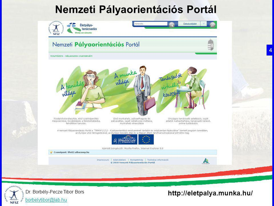 Dr. Borbély-Pecze Tibor Bors borbelytibor@lab.hu Nemzeti Pályaorientációs Portál 4 http://eletpalya.munka.hu/