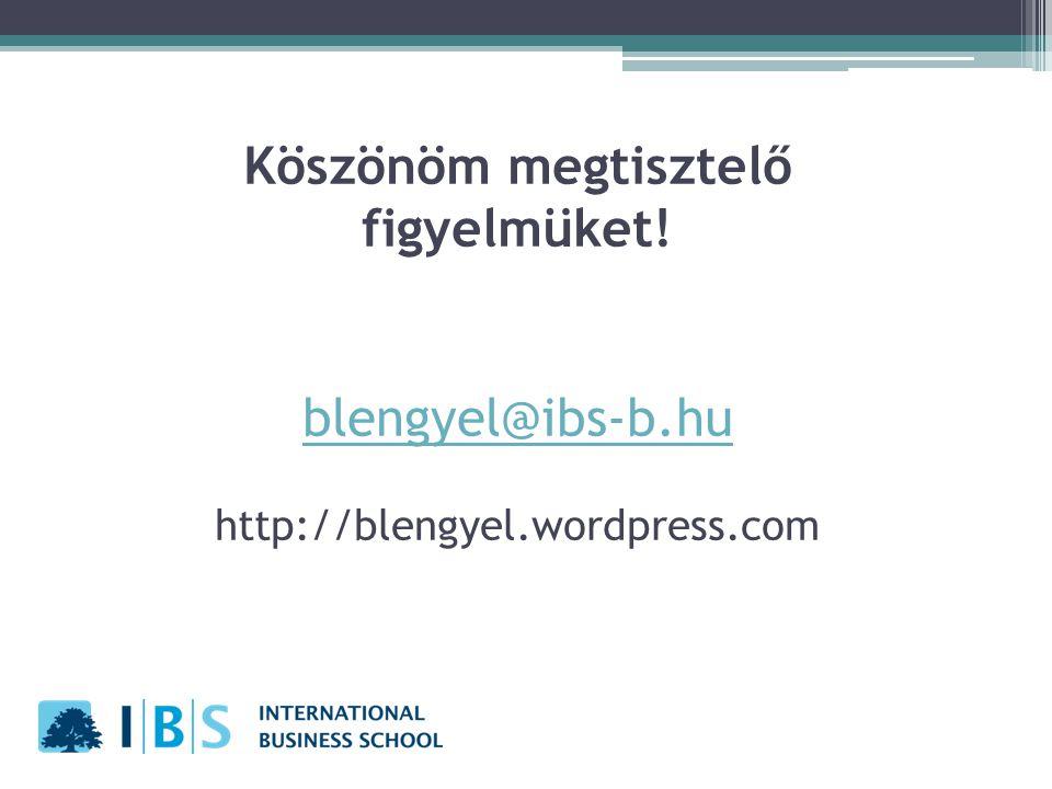 Köszönöm megtisztelő figyelmüket! blengyel@ibs-b.hu http://blengyel.wordpress.com blengyel@ibs-b.hu