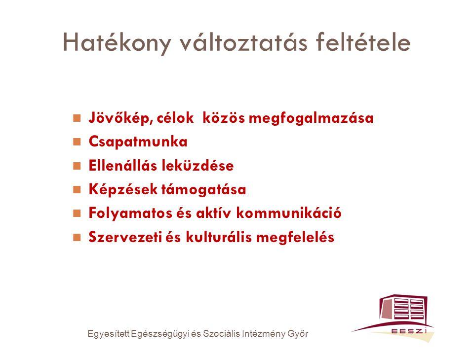 Hatékony változtatás feltétele Jövőkép, célok közös megfogalmazása Csapatmunka Ellenállás leküzdése Képzések támogatása Folyamatos és aktív kommunikáció Szervezeti és kulturális megfelelés Egyesített Egészségügyi és Szociális Intézmény Győr