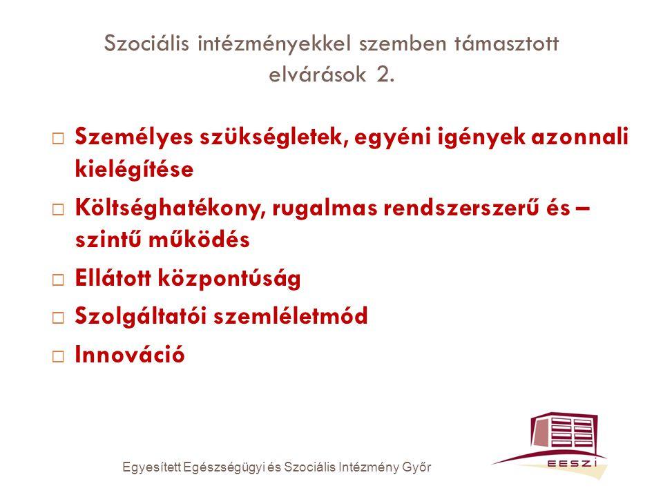 Szociális intézményekkel szemben támasztott elvárások 2.  Személyes szükségletek, egyéni igények azonnali kielégítése  Költséghatékony, rugalmas ren